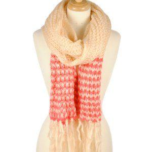 Tangerine & White Heavy Knit Scarf